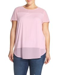 Vince Camuto - Multicolor Chiffon Inset Knit Top - Lyst