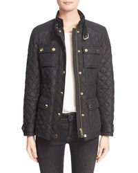 Burberry Brit - Black 'rangemoore' Belted Quilted Military Coat - Lyst