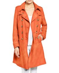 Steve Madden - Orange Faux Suede Trench Coat - Lyst