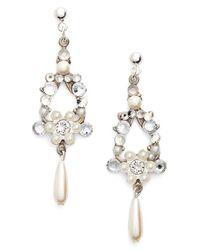 Halo - Metallic Crystal & Faux Pearl Chandelier Earrings - Lyst