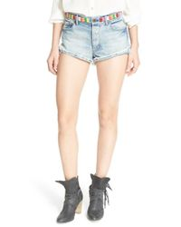Free People - White 'eliot' Embroidered Cutoff Shorts - Lyst