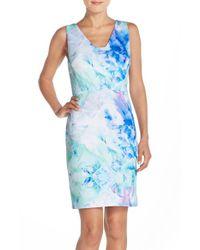 Julia Jordan | Blue Print Scuba Sheath Dress | Lyst