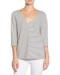 Cooper & Ella - Gray 'harriet' Stripe V-neck Top - Lyst
