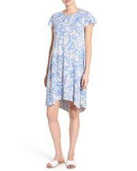 Kensie - Blue Laser Tie Dye French Terry Shift Dress - Lyst