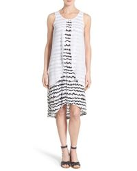 Kensie - White Sheer Overlay Two-tone Scribble Print Shift Dress - Lyst