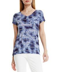 Two By Vince Camuto - Blue Stripe Tie Dye V-neck Tee - Lyst