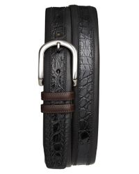 Mezlan - Black 'lipari' Nappa & Genuine Crocodile Leather Belt for Men - Lyst