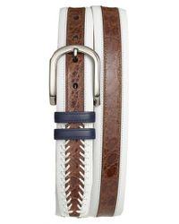 Mezlan - Brown 'lipari' Nappa & Genuine Crocodile Leather Belt for Men - Lyst