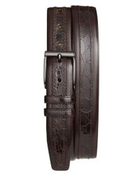 Mezlan | Brown 'parma' Calfskin & Genuine Crocodile Leather Belt for Men | Lyst