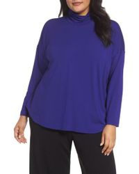 Eileen Fisher | Blue Turtleneck Tunic | Lyst