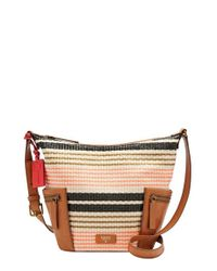 Fossil - Pink Small Emerson Stripe Woven Hobo Bag - Lyst
