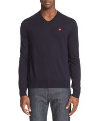 Comme des Garçons | Black Play V-neck Cotton Pullover for Men | Lyst