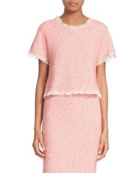 Rebecca Taylor - Pink Short Sleeve Woven Tweed Top - Lyst
