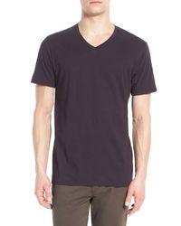 VINCE   Black Pima Cotton V-neck T-shirt for Men   Lyst