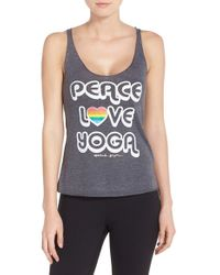 Spiritual Gangster - Gray 'peace, Love, Yoga' Racerback Jersey Tank - Lyst