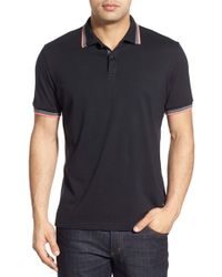 Stone Rose - Black Stripe Tipped Polo for Men - Lyst