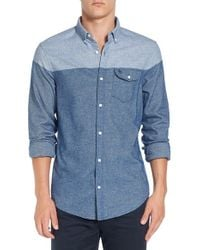 Original Penguin | Blue Trim Fit Two-tone Woven Shirt for Men | Lyst