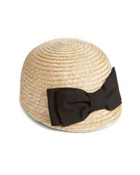 Helene Berman - Brown Bow Straw Cap - Lyst