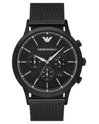 Emporio Armani | Black Chronograph Mesh Strap Watch for Men | Lyst