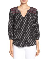 Sanctuary - Black Embroidered Yoke Woodblock Print Top - Lyst