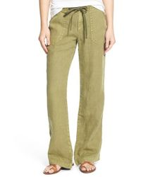 Sanctuary | Green 'newport' Wide Leg Linen Pants | Lyst
