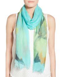 Badgley Mischka | Green 'wild Iris' Print Modal & Silk Scarf | Lyst