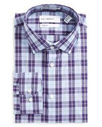 Calibrate | Blue Trim Fit Non-iron Plaid Stretch Dress Shirt for Men | Lyst