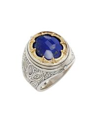 Konstantino | Metallic 'orpheus' Petal Set Semiprecious Stone Ring for Men | Lyst