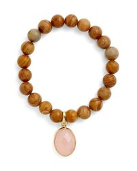 Elise M - Brown 'mumbai' Wood Beaded Bracelet - Lyst
