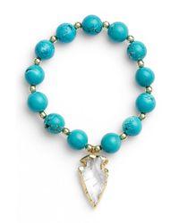 Elise M - Blue 'allegra' Arrow Pendant Beaded Bracelet - Lyst