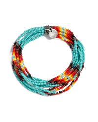 Chan Luu | Multicolor Patterned Seed Bead Stretch Bracelet - New Turquoise | Lyst