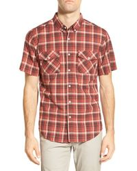 United By Blue - Red 'scots' Trim Fit Fit Short Sleeve Organic Cotton Sport Shirt for Men - Lyst