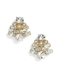 Marchesa - Metallic Crystal Stud Earrings - Lyst