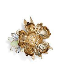 Marchesa | Metallic Crystal Flower Brooch | Lyst