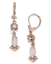 Marchesa | Metallic Crystal Double Drop Earrings | Lyst