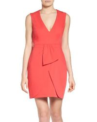 BCBGMAXAZRIA | Red Clare Satin Sheath Dress | Lyst