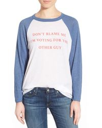 Wildfox - White 'don't Blame Me' Long Sleeve Baseball Tee - Lyst