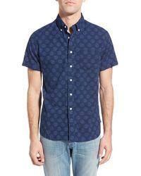Grayers - Blue Trim Fit Anchor Print Chambray Sport Shirt for Men - Lyst
