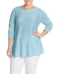 Eileen Fisher - Blue Organic Cotton Round Neck Sweater - Lyst