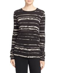 VINCE | Black 'shadow Stripe' Cotton & Modal Crewneck Tee | Lyst