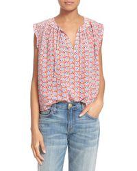 Rebecca Taylor | White 'amanda' Sleeveless Floral Print Silk Top | Lyst