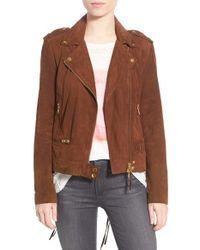 Pam & Gela - Brown Lace Back Suede Moto Jacket - Lyst