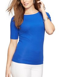 Lauren by Ralph Lauren - Blue Boat Neck Stretch Cotton Tee - Lyst