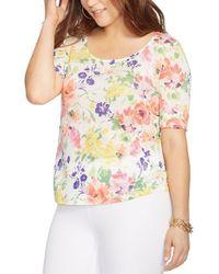 Lauren by Ralph Lauren - Multicolor Floral Print Linen Tee - Lyst