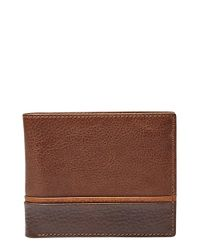 Fossil | Brown 'ian' Leather Bifold Wallet for Men | Lyst