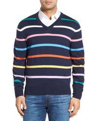 Brooks Brothers - Blue Stripe V-neck Sweater for Men - Lyst