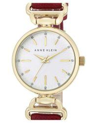 Anne Klein - Metallic Leather Strap Watch - Lyst