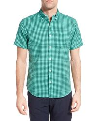 Relwen - Green Classic Fit Check Short Sleeve Sport Shirt for Men - Lyst