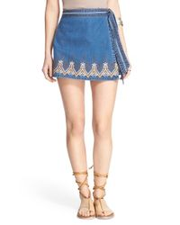 Free People - Blue Dream Away Embroidered Wrap Front Denim Miniskirt - Lyst