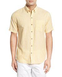 Cutter & Buck - Yellow 'gulf Stripe' Classic Fit Linen & Cotton Sport Shirt for Men - Lyst